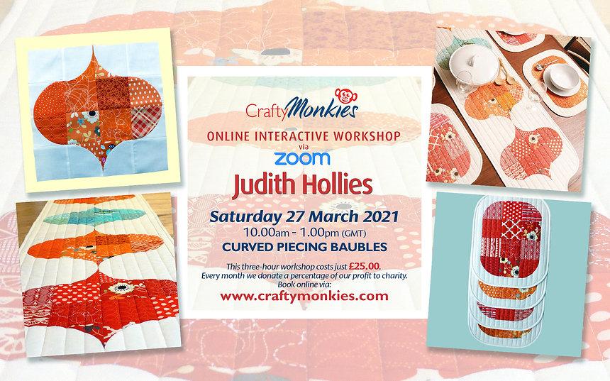CraftyMonkies Judith Hollies Online Interactive Workshop via Zoom Baubles Table-Runner