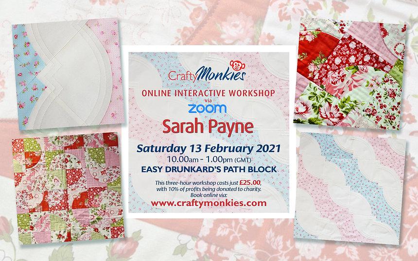 CraftyMonkies Sarah Payne Online Interactive Zoom Workshop Easy Drunkard's Path Block