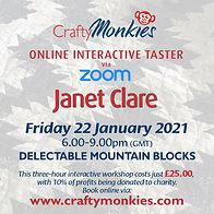 CraftyMonkies Janet Clare Online Interactive Workshops via Zoom Delectable Mountain Blocks
