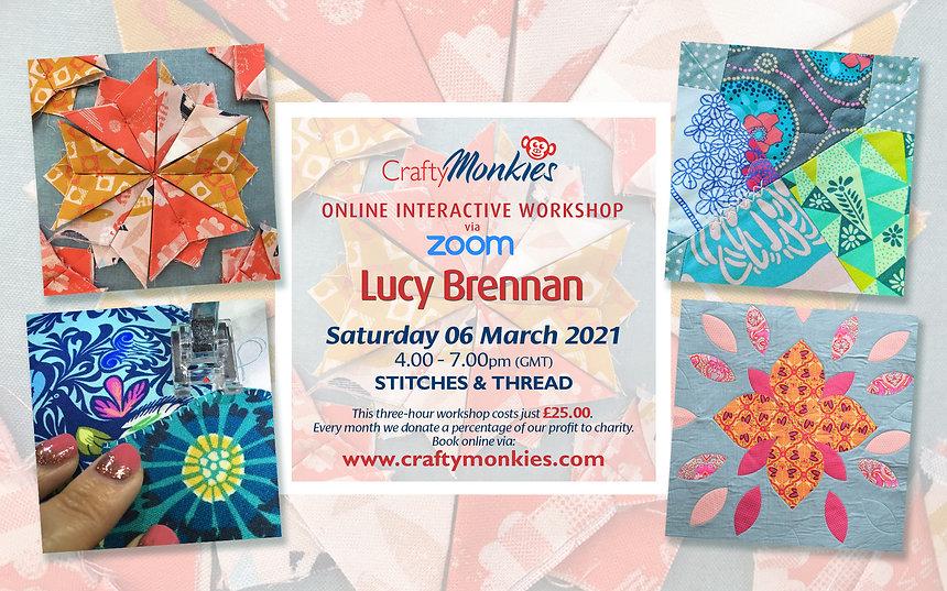 CraftyMonkies Lucy Brennan Online Interactive Workshop via Zoom Stitches & Thread