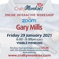 CraftyMonkies Gary Mills Online Interactive Workshop via Zoom Visible Mending