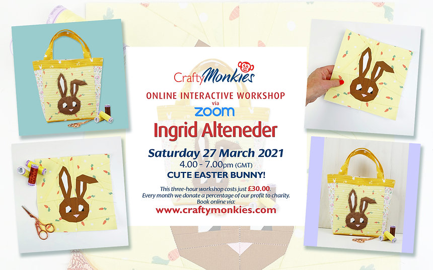 CraftyMonkies Ingrid Alteneder Online Interactive Workshop via Zoom FPP: Cute Easter Bunny