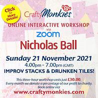 CraftyMonkies Nicholas Ball Online Interactive Workshop Improv Stacks & Drunken Tiles!