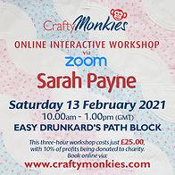 CraftyMonkies Sarah Payne Online Interactive Workshop via Zoom Easy Drunkard's Path Block
