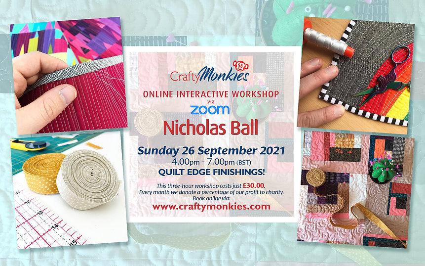 CraftyMonkies Nicholas Ball Online Interactive Workshop Quilt Edge Finishings