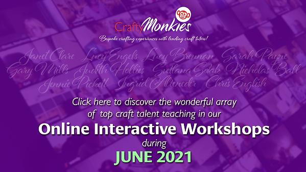 CraftyMonkies Online Interactive Workshops featuring Expert Craft Tutors