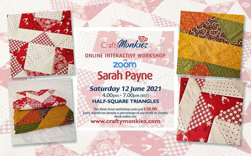 CraftyMonkies Sarah Payne Online Interactive Workshop Half-Square Triangles