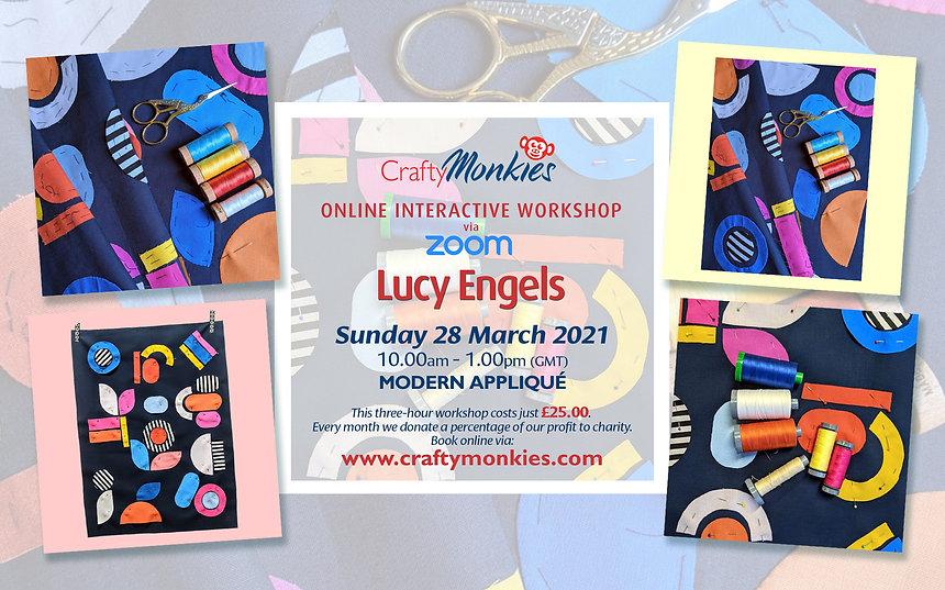 CraftyMonkies Lucy Engels Online Interactive Workshop via Zoom Modern Appliqué Techniques