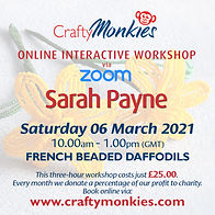 CraftyMonkies Sarah Payne Online Interactive Workshop via Zoom French Beaded Daffodils