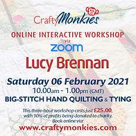 CraftyMonkies Lucy Brennan Online Interactive Workshop via Zoom Big-Stitch Hand Quilting & Tying
