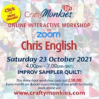 CraftyMonkies Chris English Online Interactive Workshop Improv Sampler Quilt