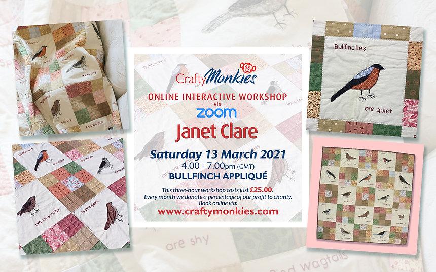 CraftyMonkies Janet Clare Online Interactive Workshop via Zoom Bullfinch Appliqué