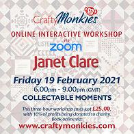 CraftyMonkies Janet Clare Online Interactive Workshop via Zoom Collectable Moments Quilt Block