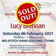 CraftyMonkies Lucy Brennan Online Interactive Workshop via Zoom Big Stitch Hand Quilting & Tying