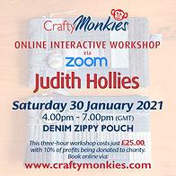 CraftyMonkies Judith Hollies Online Interactive Workshop via Zoom - Denim Zippy Pouch
