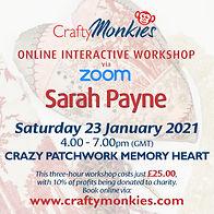 CraftyMonkies Sarah Payne Online Interactive Workshop via Zoom Crazy Patchwork Memory Heart