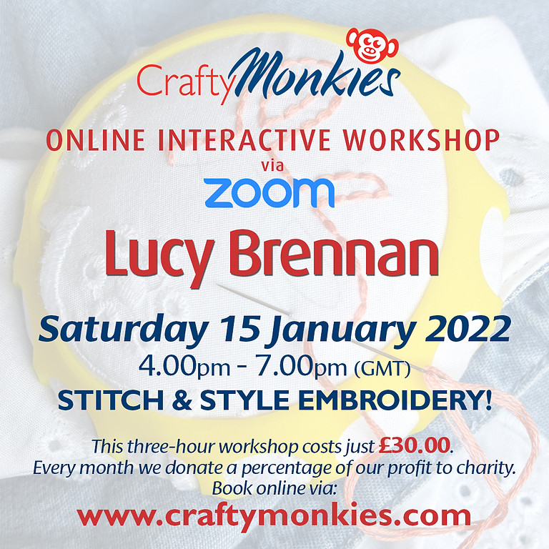 Saturday 15 January 2022: Online Workshop (Stitch & Style Embroidery)