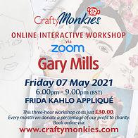 CraftyMonkies Gary Mills Online Interactive Workshop via Zoom Frida Kahlo Appliqué!