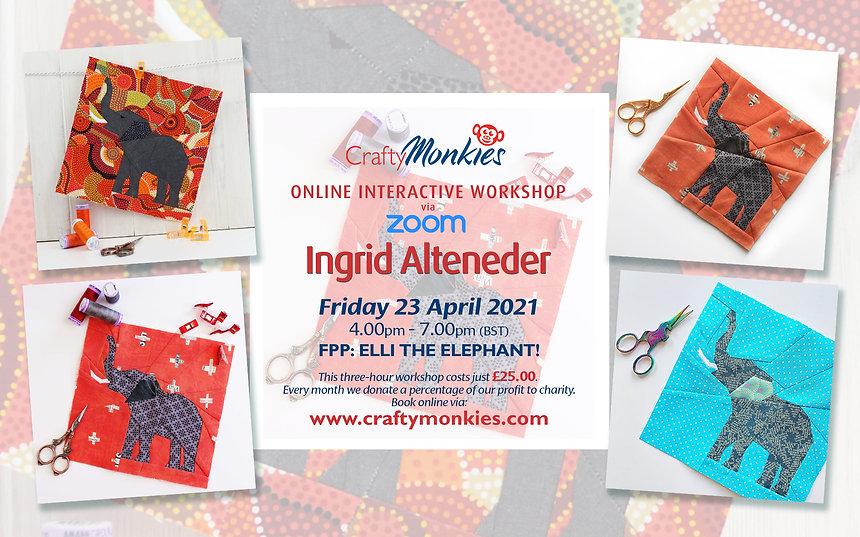 CraftyMonkies Ingrid Alteneder Online Interactive Workshop - FPP: Elli The Elephant