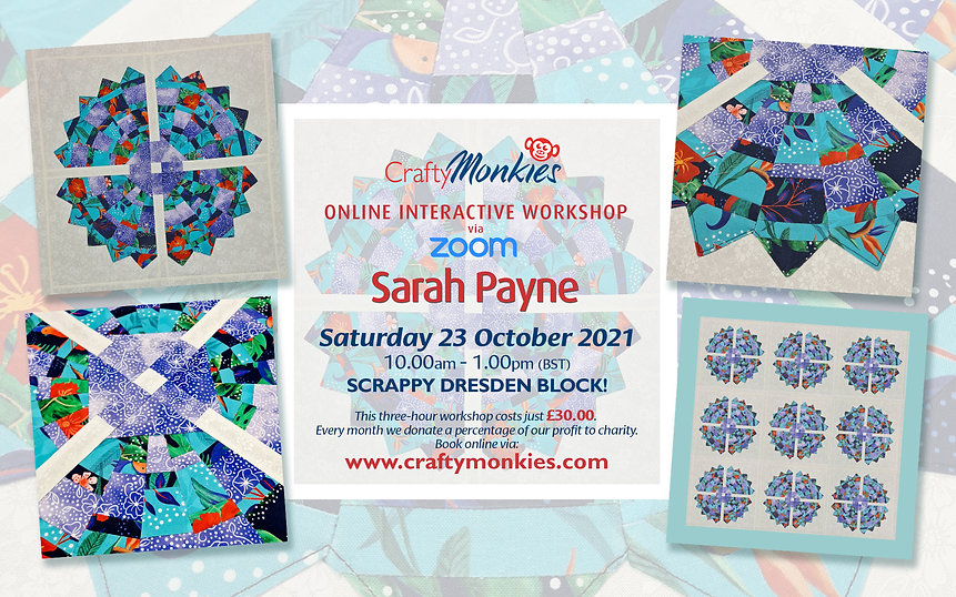 CraftyMonkies Sarah Payne Online Interactive Workshop Scrappy Dresden Block