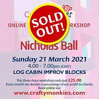 CraftyMonkies Nicholas Ball Online Interactive Workshop via Zoom Log Cabin Improv Blocks