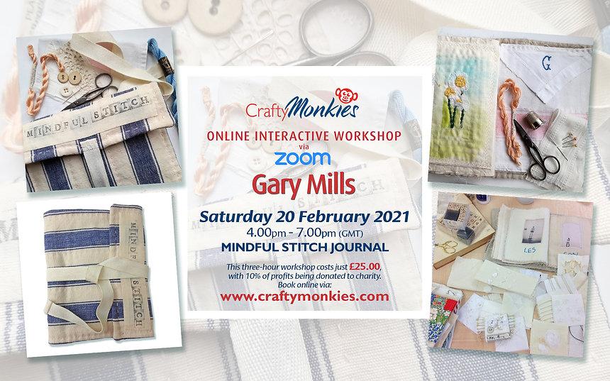 CraftyMonkies Gary Mills Online Interactive Workshop via Mindful Stitch Cloth Journal