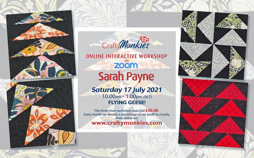CraftyMonkies Sarah Payne Online Interactive Workshop Flying Geese