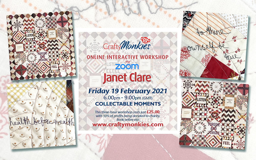 CraftyMonkies Janet Clare Online Interactive Crafting Workshop Collectable Moments Quilt Block