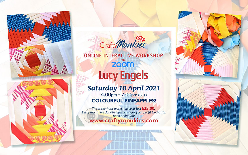 CraftyMonkies Lucy Engels Online Interactive Workshop Colourful Pineapples!