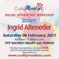 CraftyMonkies Ingrid Alteneder Online Interactive Workshop via Zoom FPP Sacred Heart with Wings