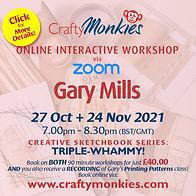 CraftyMonkies Gary Mills Online Interactive Workshop Triple-Whammy Ticket!