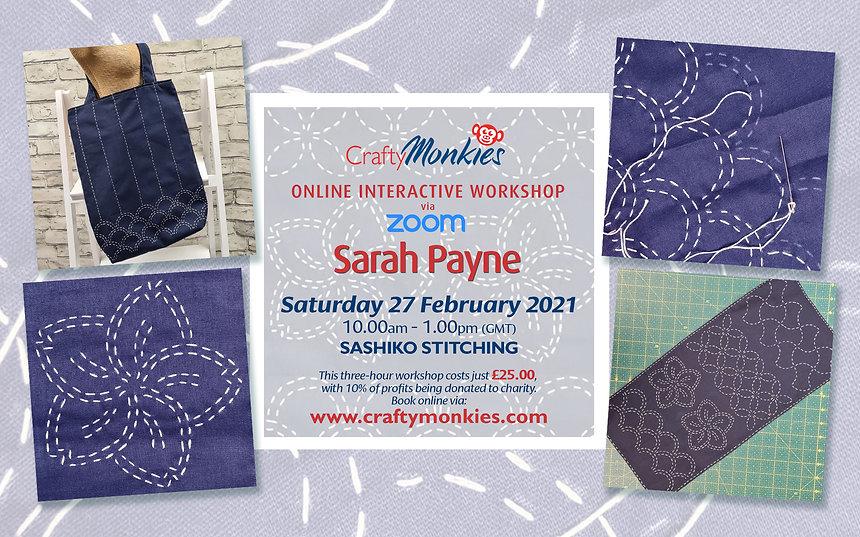 CraftyMonkies Sarah Payne Online Interactive Zoom Workshop Sashiko