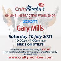 CraftyMonkies Gary Mills Online Interactive Workshop Birds On Stilts!