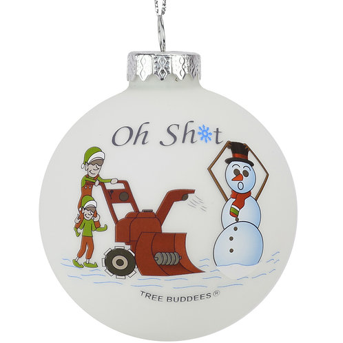 Oh Sh*t Funny Snowblower vs Snowman Glass Bulb Ornament