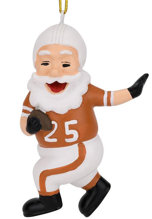 Touchdown Santa Christmas Sports Football Ornament (White & Dirty Orange)