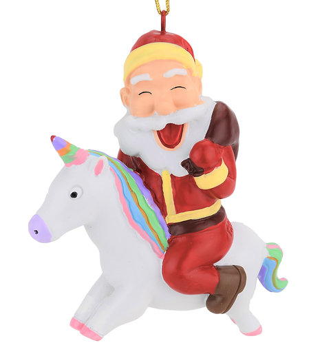 Santa Riding A Unicorn Christmas Ornament