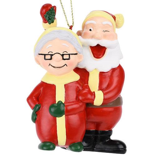 Santa and Mrs. Claus Under The Mistletoe Kissing Christmas Ornament