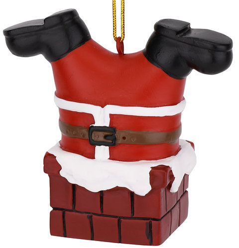 Santa Stuck in The Chimney Christmas Ornament