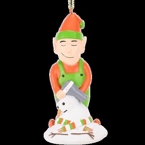 Elf Hair Drying a Snowman Funny Christmas Ornament