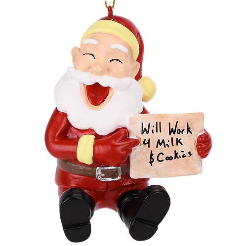 Will Work for Milk and Cookies Funny Santa Christmas Ornament