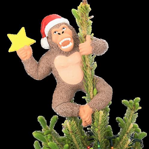 "King Kong Climbing The Tree Funny Christmas Tree Topper - Large 10"""