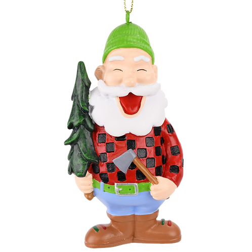 Lumberjack Santa with Xmas Tree Christmas Ornament