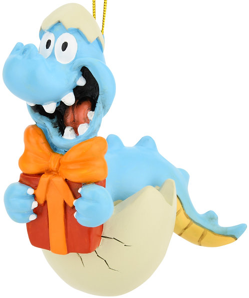 Baby Dinosaur Hatching with Present Christmas Ornament