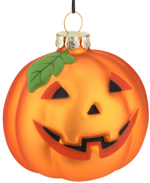 Pumpkin Glass Bulb Jack-o'-lantern Halloween Ornament