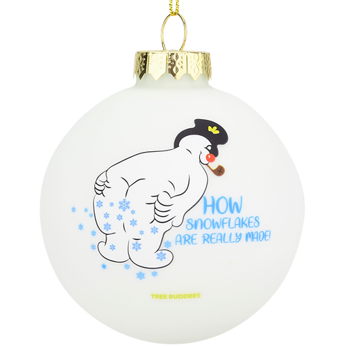 Snowman Farting - How Snowflakes are Really Made! Glass Ornament