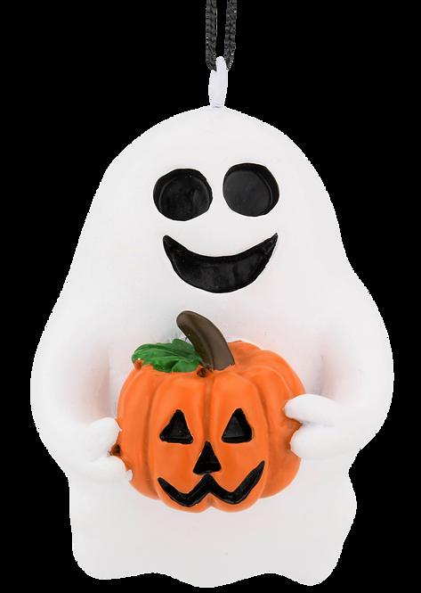 Cute Friendly Ghost with Pumpkin Halloween Ornament
