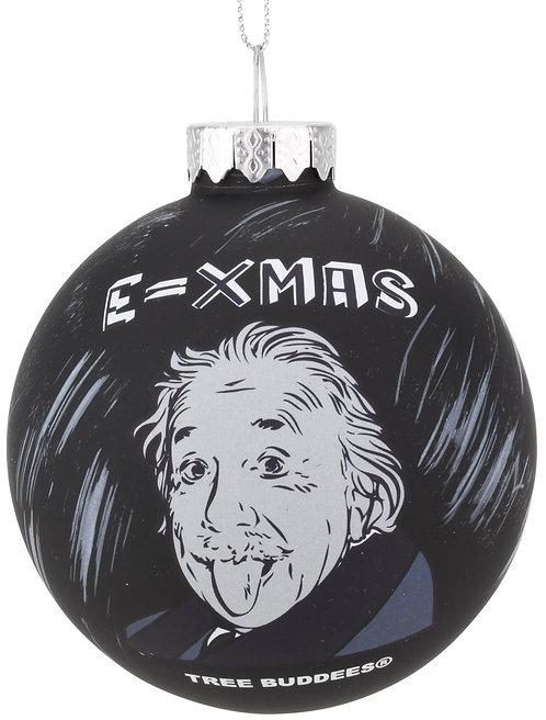 E=Xmas Albert Einstein Glass Christmas Ornament