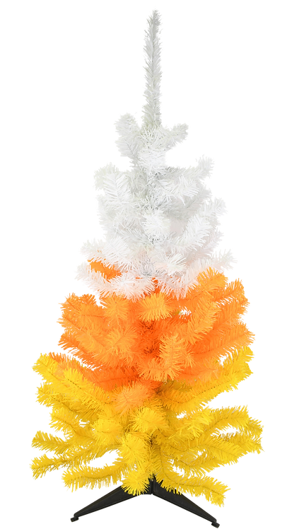White, Orange and Yellow Candy Corn Halloween Tree (3 Foot)