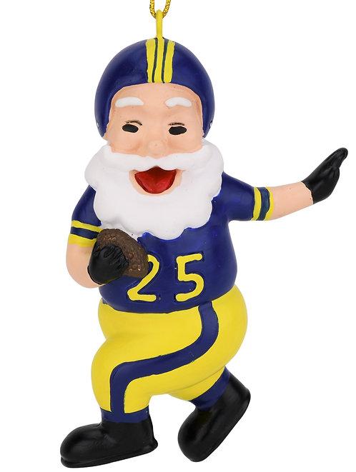 Touchdown Santa Christmas Sports Football Ornament (Blue & Yellow)