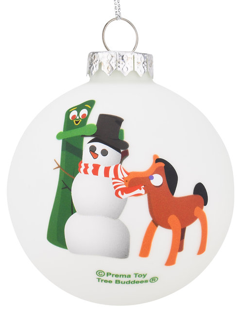 Gumby and Pokey Building a Snowman Glass Ornament Limited Edition